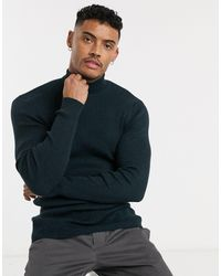 ASOS Muscle Fit Rib Roll Neck Sweater - Blue