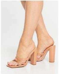 SIMMI Shoes Simmi London - Heaton - Sandali con tacco largo e nodo sul davanti, color cammello - Multicolore