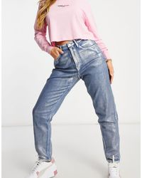 Tommy Hilfiger High Rise Silver Metallic Coated Mom Jean - Blue