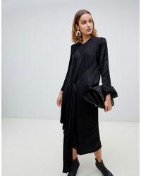 ASOS - Satin Twist Tie Detail Midi Dress - Lyst