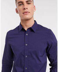 French Connection Приталенная Однотонная Рубашка Из Немнущейся Ткани -голубой - Синий