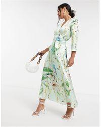 Liquorish Атласное Платье С Принтом Птиц И Запахом -мульти - Зеленый