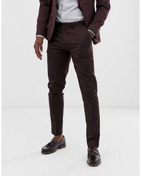 ASOS Skinny Suit Trousers In Dark Burgundy - Red