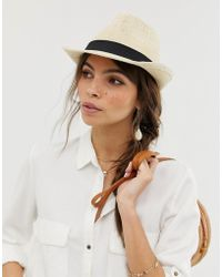 90502b85f29 ASOS - Straw Trilby Hat With Size Adjuster - Lyst