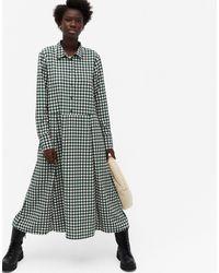 Monki Зеленое Платье-рубашка Миди С Узором В Клетку Ada-зеленый Цвет