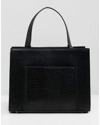 ASOS Multi Gusset Tote Bag - Black