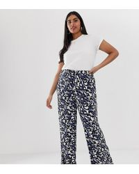 Simply Be - Jersey Wide Leg Trousers In Blue Leopard Print - Lyst