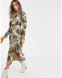 TOPSHOP Платье Миди С Винтажным Цветочным Принтом -кремовый - Многоцветный