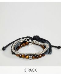 Icon Brand - Black Leather & Brown Beaded Bracelets In 3 Pack - Lyst