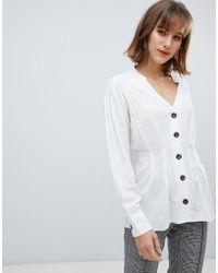 Mango - Pocket Detail White Shirt - Lyst