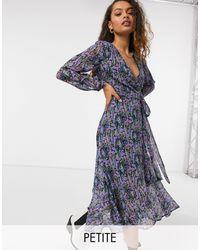 Y.A.S Petite Midi Wrap Dress With Frill Hem - Blue