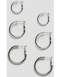 Monki - Hoops Multipack In Silver - Lyst