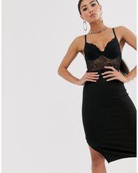 River Island - Черное Кружевное Облегающее Платье -черный - Lyst