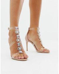 8073d95d511 ALDO - Montesegale Embellished Perspex Clear Heeled Sandals - Lyst