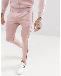 Gym King - Skinny Poly joggers In Pink With Side Stripe - Lyst