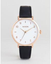 Nixon - A1091 Arrow Leather Watch In Black 38mm - Lyst