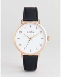 Nixon - A1091 Arrow Leather Watch In Black 38mm - Lyst