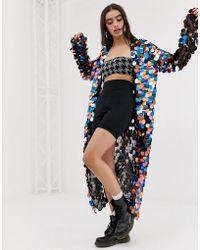 Jaded London - Festival Rainbow Sequin Maxi Kimono - Lyst