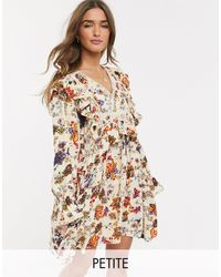 Y.A.S Petite Skater Dress With Ruffle Trims - Multicolour