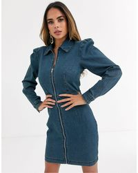 Missguided Zip Through Denim Shirt Dress With Puff Sleeves - Blue