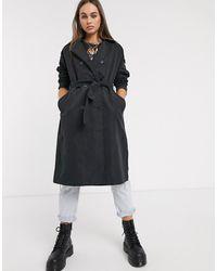 Noisy May Dylan Long Sleeve Tie Waist Trench Coat - Black