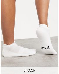 ASOS 4505 Run Trainers Socks With Anti Bacterial Finish 3 Pack - White