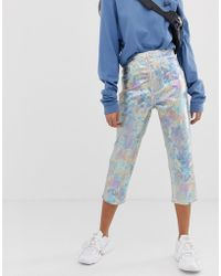ASOS - Farleigh High Waisted Cropped Slim Mom In Optic White With Pearl Metallic Coating - Lyst