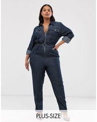 Simply Be Denim Boilersuit - Blue