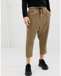 ASOS Drop Crotch Tapered Crop Smart Trousers In Camel With Drawcord - Natural
