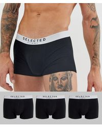 SELECTED 3 Pack Trunks In Black