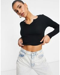 ASOS Long Sleeve Slim Fit Crop Top With Notch Neck - Black