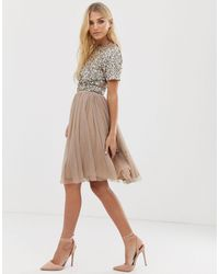 LACE & BEADS Tulle Midi Skirt - Brown