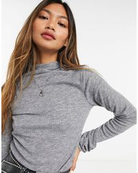 River Island Long Sleeved Roll Neck Top - Gray
