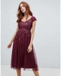 Amelia Rose Embellished Ombre Sequin Midi Dress With Cami Strap In Berry - Red