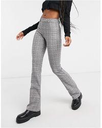 Bershka Check Flare Pant - Grey