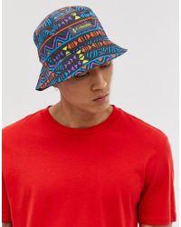 Columbia Roatan Drifter Reversible Bucket Hat In Shark Print - Blue