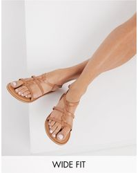 New Look Wide Fit Leather Strap Sandals - Brown