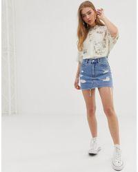 b8607839e071 Missguided Khaki Camo Ripped Denim Mini Skirt - Save 52% - Lyst