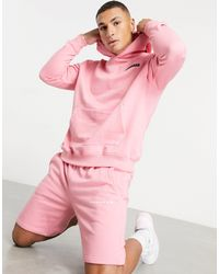 Mennace Jersey Shorts With Rubber Logo - Pink