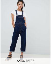 ASOS ASOS DESIGN Petite Denim - Salopette di jeans rinse wash - Blu