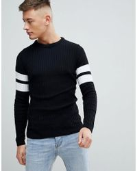 Boohoo - Muscle Fit Ribbed Jumper With Arm Stripe In Black - Lyst
