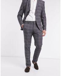 SELECTED Slim-fit Pantalon Met Ruiten - Grijs
