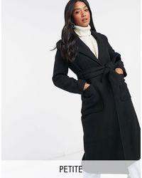 Y.A.S Petite Manteau long en laine avec ceinture à nouer à la taille - Noir