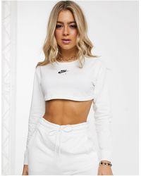 Nike Air - Top super corto a maniche lunghe bianco