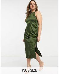NaaNaa Plus High Neck Satin Dress - Green