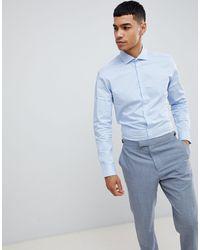 Moss Bros Moss London Long Sleeve Skinny Stretch Shirt - Blue