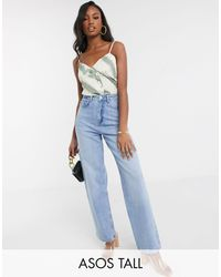 ASOS Asos Design Tall High Rise 'relaxed' Dad Jeans - Blue