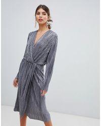 Vila - Pleated Metallic Knot Midi Dress In Silver - Lyst