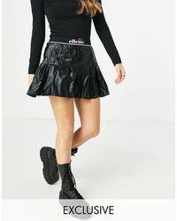 Ellesse Metallic Pleated Skirt With Logo Banding - Black