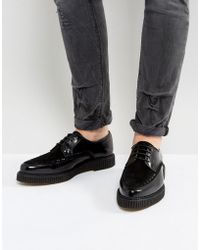 ASOS Asos Lace Up Shoes In Black Leather With Creeper Sole